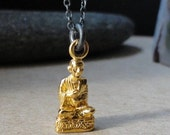 Fine Jewelry Necklace  Buddha In Solid 22kt Yellow Gold Hangs From Oxidized Sterling Cable Chain With Orange Sapphire And Pearl Accent Beads