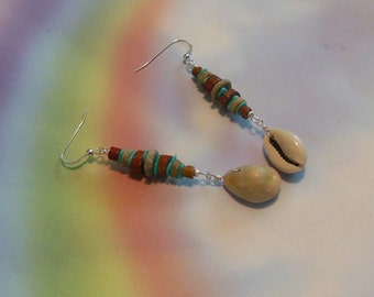 Natural Stone and Cowrie Shell Dangle Earrings - Crinoid Turquoise and Pipe stone Earrings with Cowrie Shells
