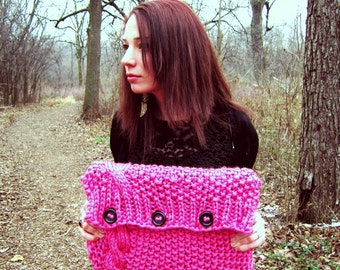 Knit Laptop Sleeve Computer Cozy Electronic Case Pink Cable Knit With Buttons Gadget Accessories Crochet