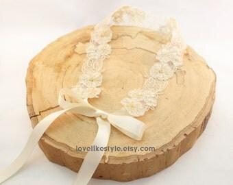Light Gold Flower and Gold Beading  Lace with Ivory  Ribbon Sash, Bridal HeadBand, Bridesmaid Sash / SH-26