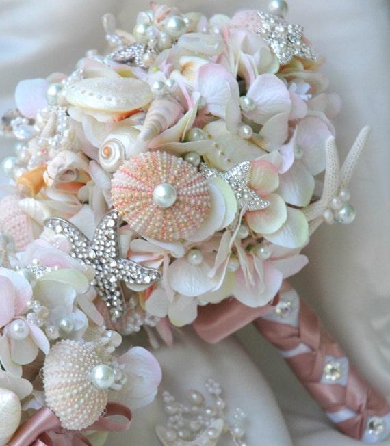 Pink Sea Shell Wedding Bouquet Blush Bridal Bouquet By BoHoBridal