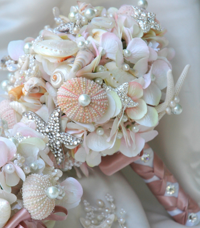 Blush Wedding Flowers: Pink Sea Shell Wedding Bouquet Blush Bridal Bouquet By