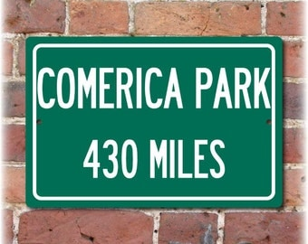 Personalized Highway Distance Sign To: Comerica Park, Home of the Detroit Tigers