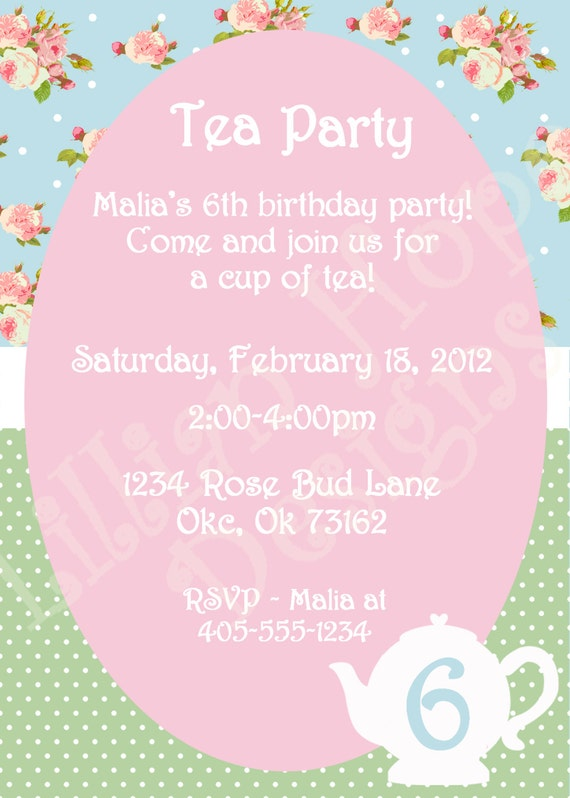 Vintage Tea Party Invitation - Girls Shabby Chic Birthday - PRINTABLE Custom Invitation and Thank You Card