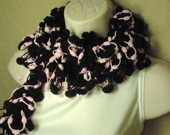 Pastel Pink and Black Pom Pom Scarf