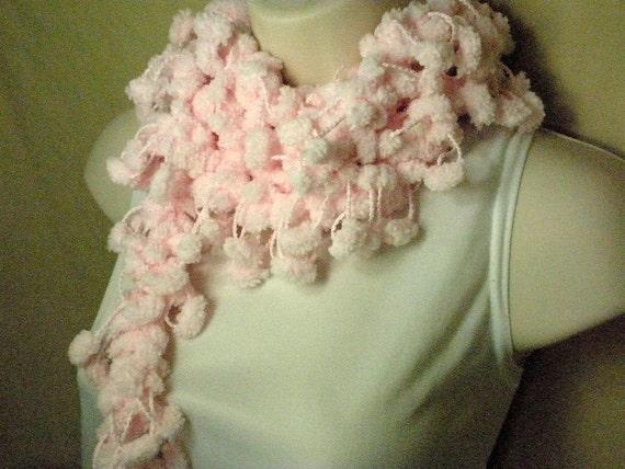Soft Pastel Pink Pom Scarf