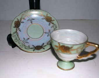 Summer sale vintage lefton demitasse cup and saucer green and gold china