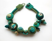 Turquoise and green chunky necklace, crochet and fabric buttons jewelry, OOAK