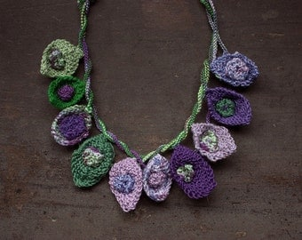 Knitted cotton necklace, purple green, OOAK