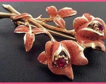 "Florenza Brooch Pin Designer Signed Garnet Rhinestones Sugar Enamel Flowers Gold Metal 2.5"" Vintage"