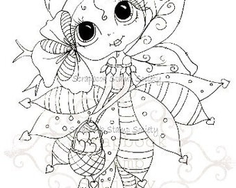 INSTANT DOWNLOAD Digital Digi Stamps Big Eye Big Head Dolls Digi  bELINDA bEEHIVE By Sherri Baldy