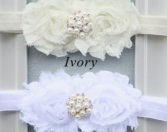 The Ivory Innocence Headband - Baby Girl Ivory Flower & Pearl Rhinestone Hair Bow - Christening, First Communion Headband