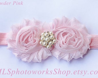 Light Pink Baby Headband - Shabby Chic Double Flower Headband in Powder Pink - Pink Headband for Baby or Toddler Girl