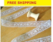 """Lace Trim 4 Yards, floral Lace Trim, White Lace Trim, White Nylon Lace,  22mm wide, 7/8"""" inch wide No. L2 FREE SHIPPING"""