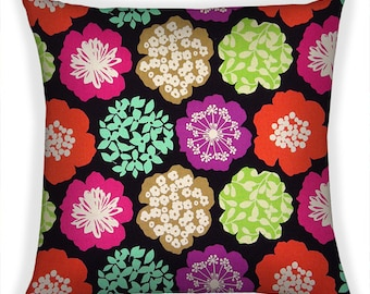 Large Decorative Pillow Cover 18x18 Throw Pillow Cushion Cover Japanese Fabric Echino Floral Pink Purple Green Orange Black