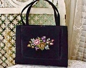 Charming Vintage Taffeta Evening Bag with Embroidered Flowers and Original Mirror