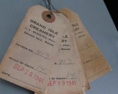 Vintage Lot of 14 Small Used Grand Isle Creamery tags with wire for Mixed Media etc.