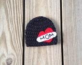 PDF Heart Mom beanie crochet pattern - 2 styles - sizes newborn to adult - photo prop