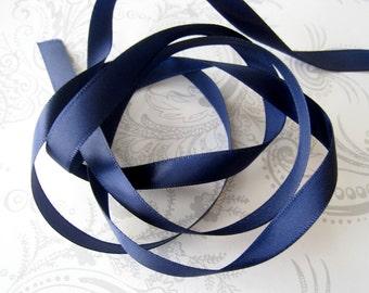 Navy Satin Ribbon 3/8 -- 3 yards -- Sapphire Blue -- 9.5mm