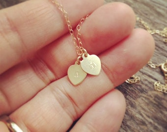 Hearts Necklace/ Gold Hearts Necklace/Tiny Gold Filled Two Hearts Necklace/Handmade by CoCo/Everyday Jewelry/Personalized Gift/ Mothers Gift