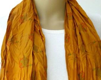 Silk scarf, Sari scarf, Yellow Scarf,
