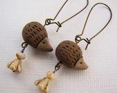 Earrings, Hedgehogs, Dangle, Brown, Beige,Purple, Dangle, For Her, Woodland