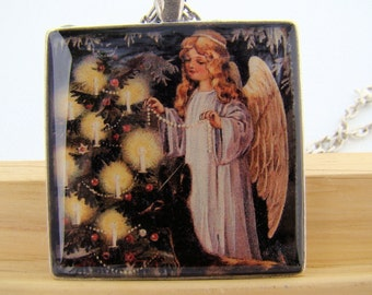 Resin Pendant, Angel lighting a Christmas Tree, Yellow, Black, Red, White, 1 1/2 Inch, Square