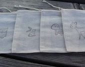 Set of 12 Hand stamped Woodland Animals Bag Muslin Party Favor Bags 100% organic made in america