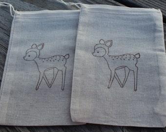 Set of 10 Hand stamped Deer Woodland Bag Muslin Party Favor Bags 100% organic made in america