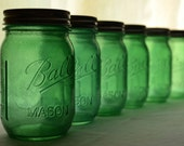 Stained Mason Jars - Sage Green - Set of 6 - Pint Size