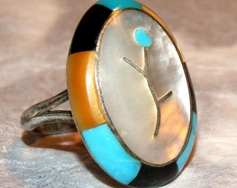 VERY OLD ZUNI Inlay Sterling Ring Size 6.5 c1950