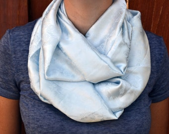 Spring infinity scarf, cowl, neck tie, summer fashion in powder blue