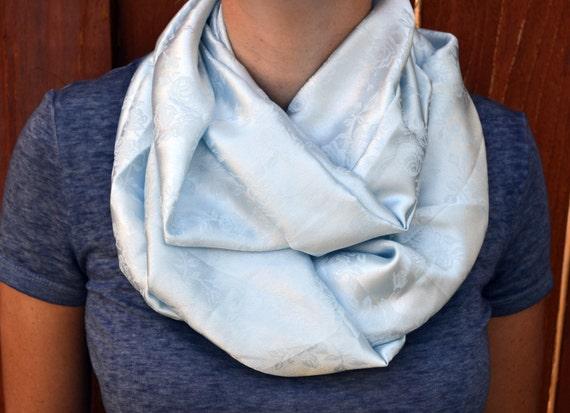Spring infinity scarf, cowl, neck tie, summer fashion in powder blue