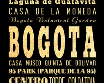 Bogota, Colombia, Typography Art Poster / Bus  / Transit / Subway Roll Art 18X24 - Bogota's Attractions Wall Art Decoration -  LHA-376