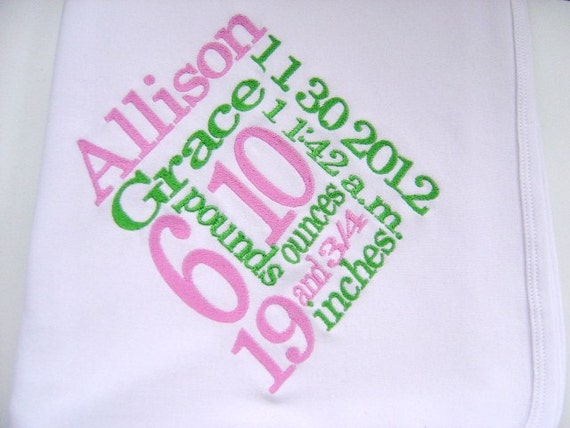 Personalized Baby Girl Birth Annoucement Blanket with Birth Stats