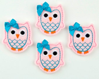 OWL - Embroidered Felt Embellishments / Appliques - Light Pink & Turquoise  (Qnty of 4) SCF6710
