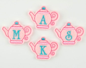 TEAPOT MONOGRAM with Ivory Font  - Embroidered Felt Embellishments / Appliques - Pink & Turquoise (Qnty of 4) SCF5150