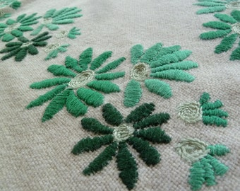 Vtg Tablecloth // Minty flowers // Embroidered by hand