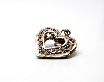 Vintage Heart Pendant Necklace Silver Open Heart Charm 60s