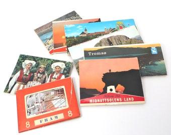 Vintage Norway Post Card Books Huge Lot Mini Postcards