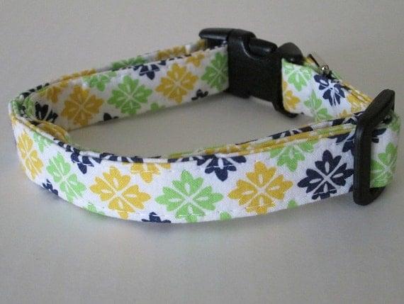 SALE Adjustable dog collar Navy Yellow Lime  Spanish tile Handmade