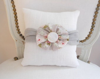 Decorative pillow, linen pillow,  floral fabric flower with mother of pearl button