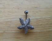 Belly Button Ring Piercing  - Starfish Belly Button Ring - Silver Starfish Naval Ring - Body Jewelry