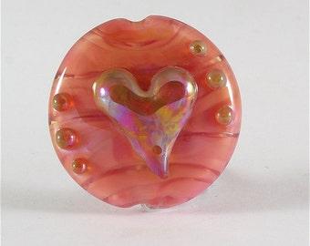 Handmade Lampwork Glass Bead Heart Focal Pink Gold SRA DUST Team LE Team