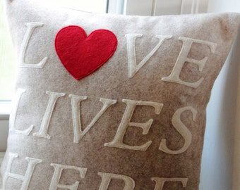 Love Lives Here Pillow Cover 12x12-Made to Order