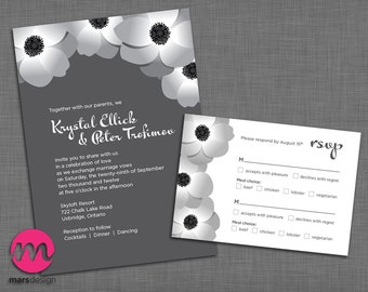 Poppies / Anemones wedding invitation and rsvp card set - PRINTABLE - DIY - flowers