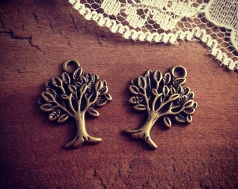 Tree Charms Antique Bronze Tree Charm Woodland Charm Small Charm Trees Charm Leaves Charm Vintage Style Pendant Charm Supplies (BB141)