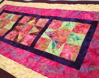 Quilted Table Runner - Batik Table Runner - Patchwork Table Runner - Handmade Runner - Batik  Prints Table Runner - Quilted Table Runner