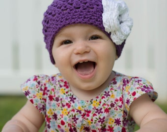 baby hat, girls hat, baby girl hat, little girls hat, crochet baby hat, purple baby hat