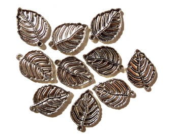 SUPPLY: 12 Metal Leaf Earring Charms - Charm Blanks - (7-A4-00005721)